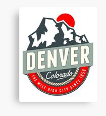 DENVER COLORADO MILE HIGH CITY MOUNTAINS SUN LOGO Canvas Print