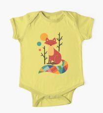 Rainbow Fox Short Sleeve Baby One-Piece