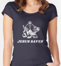 Jesus Saves Hockey Goalie Women's Fitted Scoop T-Shirt