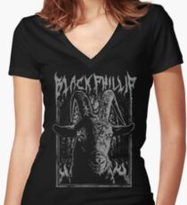 Black Metal Phillip Women's Fitted V-Neck T-Shirt