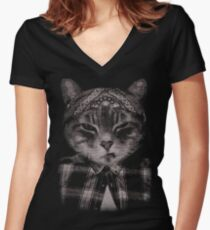 Gangster Cat (Platinum) Women's Fitted V-Neck T-Shirt