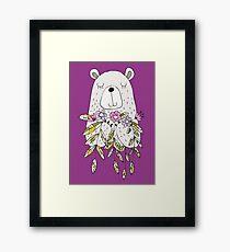 Cartoon Animals Cute Bear With Flowers Framed Print