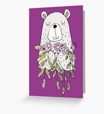 Cartoon Animals Cute Bear With Flowers Greeting Card