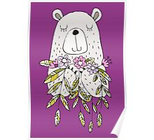 Cartoon Animals Cute Bear With Flowers Poster