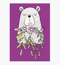 Cartoon Animals Cute Bear With Flowers Photographic Print