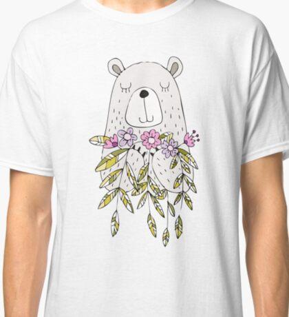 Cartoon Animals Cute Bear With Flowers Classic T-Shirt