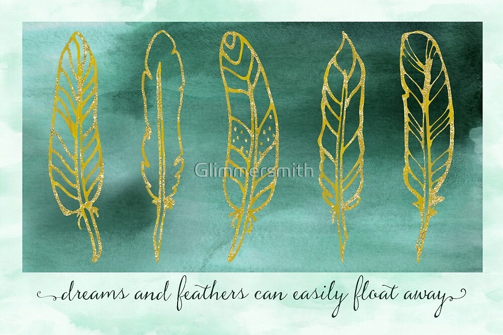Gathering Feathers II nature watercolor, gold glitter print by Glimmersmith