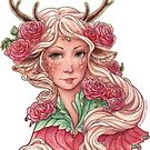 Faun Girl with Pink Flowers by Meredith Dillman