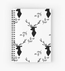Deer and Leaves Black on White Spiral Notebook
