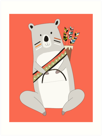 Láminas Artísticas Animales De Dibujos Animados Oso Tribal Con