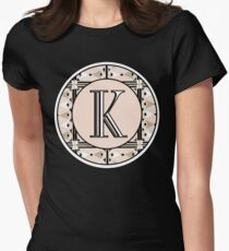 1920s Pink Champagne Deco Monogram letter K Womens Fitted T-Shirt