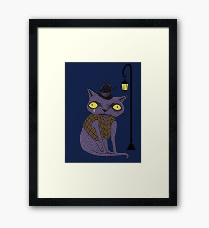 Sad Cat with Moonlight Memories Framed Print