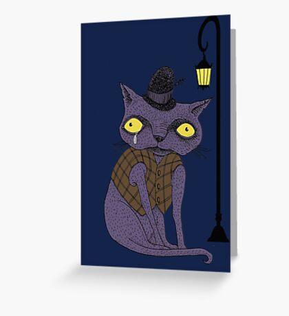 Sad Cat with Moonlight Memories Greeting Card