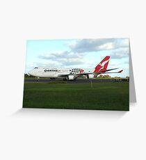 Qantas 747 on Easter Island runway Greeting Card