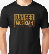 """DANGER, MUSICIAN"" Rusty Metal Sign - Distressed - Black Yellow T-Shirt"
