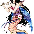 Little Spring Kimono Fairy playing a flute by meredithdillman