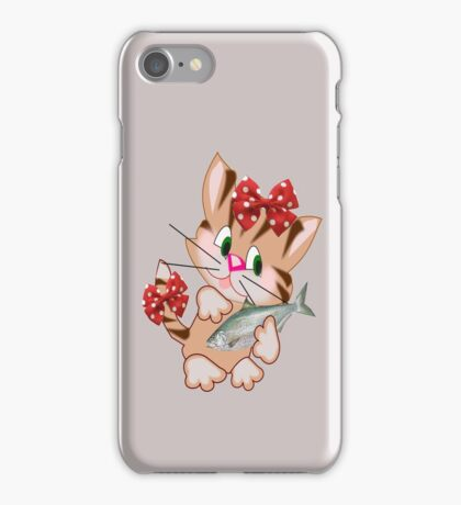 Kitty with Fish T shirt  , Tote bag and pillow (4328 Views) iPhone Case/Skin
