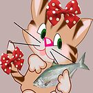 Kitty with Fish T shirt  , Tote bag and pillow (4328 Views) by aldona