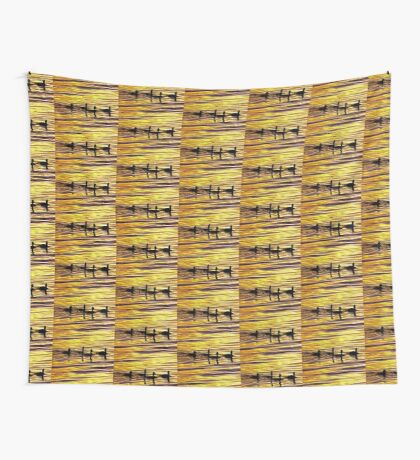 golden sunset lit water with ducks Wall Tapestry