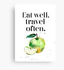 Green apple - eat well! Canvas Print