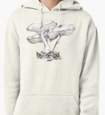 Fungi mushroom study mono pencil drawing Pullover Hoodie