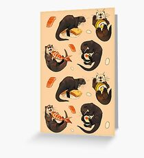 Tiny otters and their sushi Greeting Card