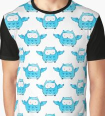 Cute Blue Watercolor Owl Pattern Graphic T-Shirt