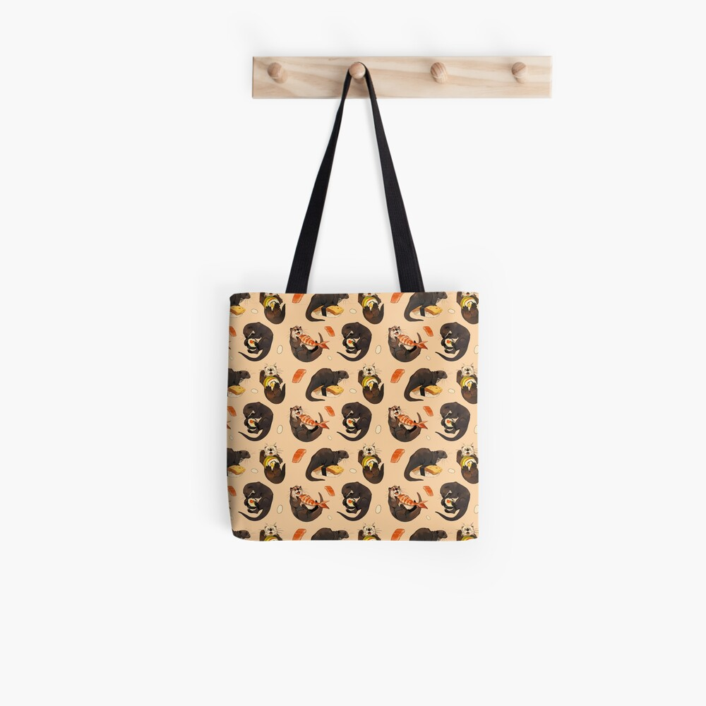 Tiny otters and their sushi Tote Bag
