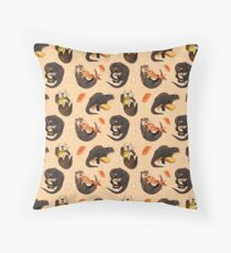 Tiny otters and their sushi Throw Pillow