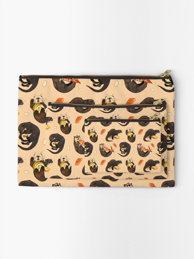 Alternate view of Tiny otters and their sushi Zipper Pouch