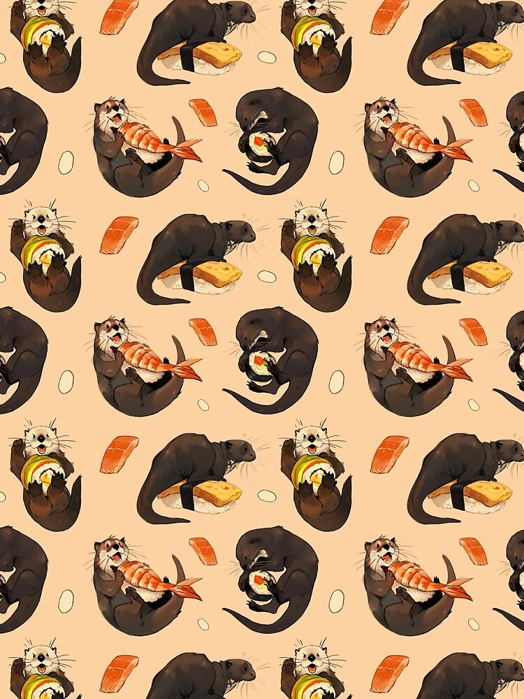 Tiny otters and their sushi by jeniak