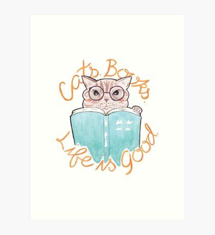 Books. Cats. Life is Good Art Print