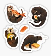 Tiny otters and their sushi Sticker