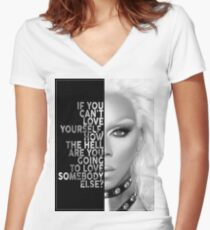 Ru Paul Text Portrait Women's Fitted V-Neck T-Shirt