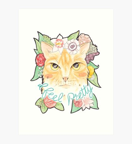 I Feel Pretty // Watercolour Illustration of a Ginger Cat Surrounded by Flowers Art Print