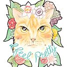 I Feel Pretty // Watercolour Illustration of a Ginger Cat Surrounded by Flowers by arosecast
