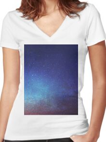 Night sky Women's Fitted V-Neck T-Shirt