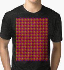 Polka Dot Fur Textured Red Green & Blue Pattern Tri-blend T-Shirt
