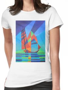 Cubist Abstract Junk Boat Against Deep Blue Sky T-Shirt