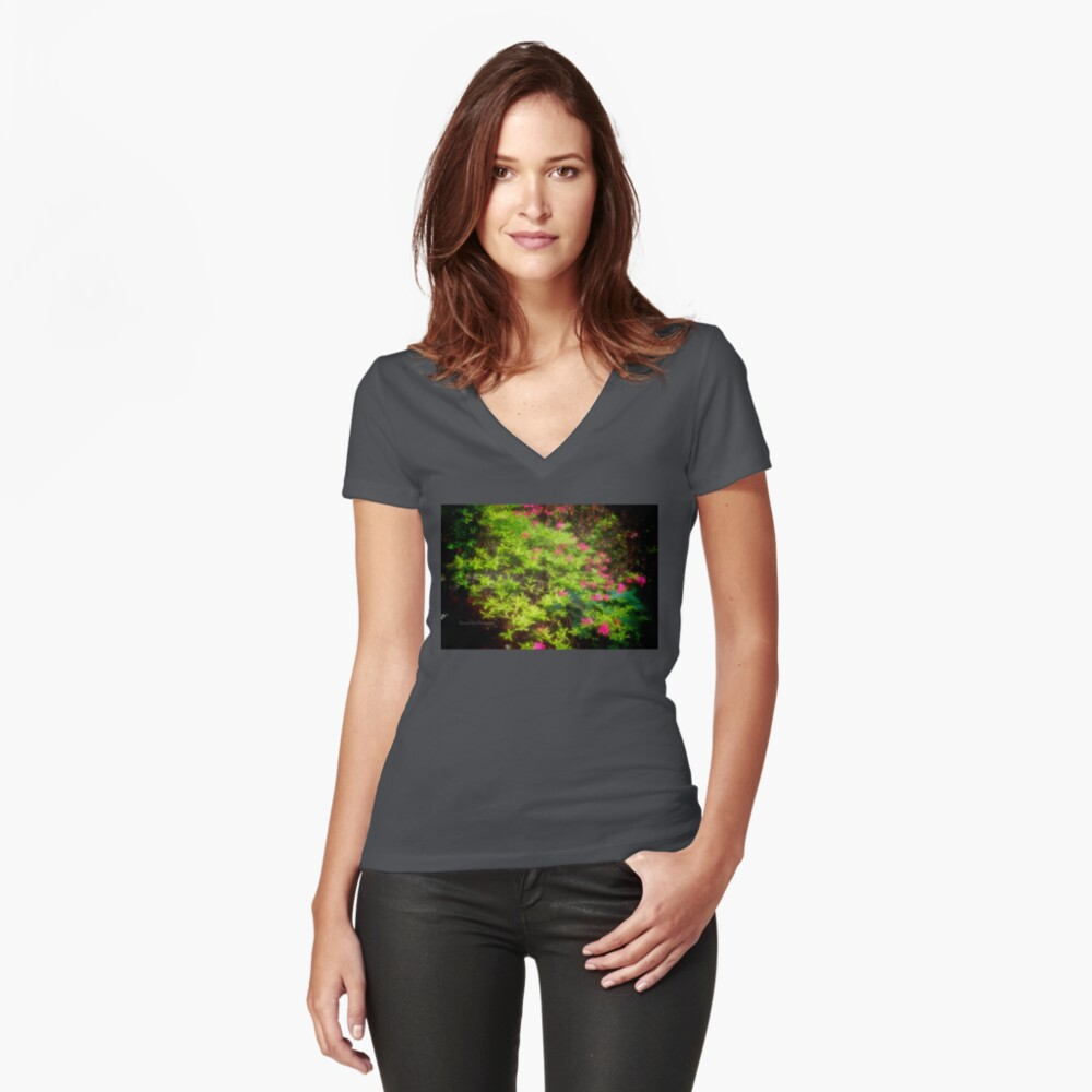 Bush in Bloom Women's Fitted V-Neck T-Shirt Front