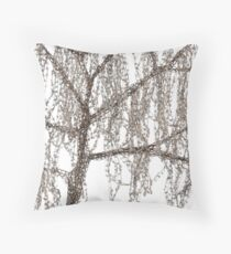 Winter willow tree Throw Pillow