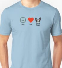 Peace, Love & Boston Terriers Unisex T-Shirt