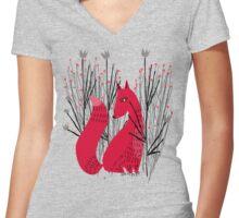 Fox in Shrub Women's Fitted V-Neck T-Shirt