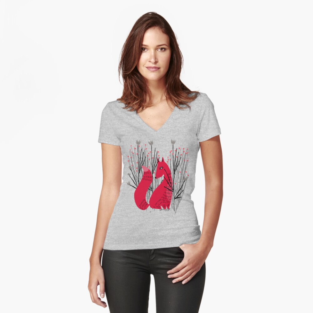 Fox in Shrub Fitted V-Neck T-Shirt