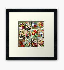 Weinlese-Blumen-Samen-Paket-Illustrationen 1 Mosaik Gerahmtes Wandbild