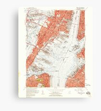 USGS TOPO Map New Jersey NJ Jersey City 254501 1955 24000 Canvas Print