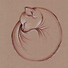 Slumber - Sleeping Cat Zen Drawing by Rebecca Rees