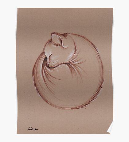 Slumber - Sleeping Cat Zen Drawing Poster