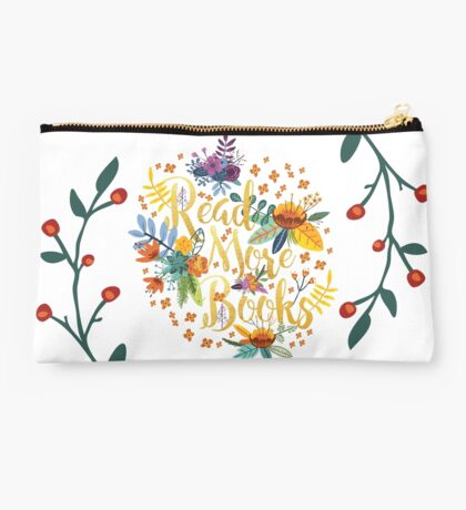Read More Books - Floral Gold Studio Pouch