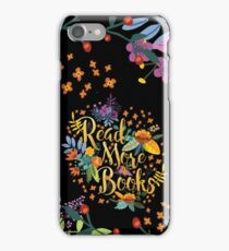 Read More Books - Floral Gold - Black iPhone Case/Skin